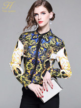 H Han Queen New 2019 Spring Ethnic Prints Shirts Women Chiffon Blouses Luxury Fashion Printed OL Female Tops Vintage Work Blusas(China)