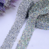 2Yards Glass Rhinestone Trim Crystal Beaded Applique Hotfix Iron On Banding For Wedding Dresses DIY Crafts