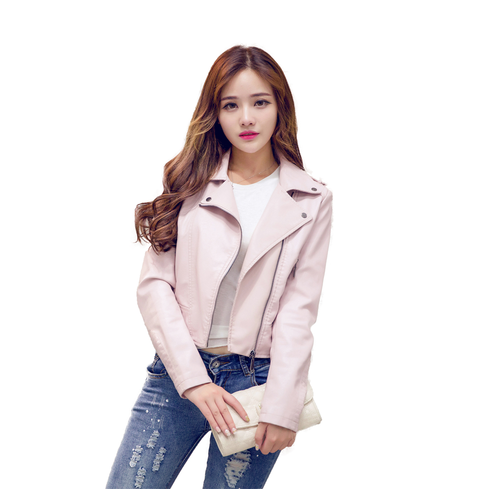 2017 Spring New   Leather   Jacket Women PU   Leather     Suede   Jacket Pink Black S-XL Free Shipping