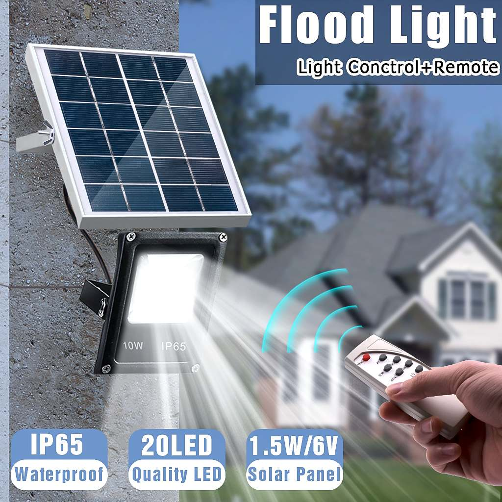 Solar Powered Flood Lights 10W Outdoor Garden Lawn Landscape Lamps Waterproof Security Wall Lamps Floodlight +Remote Control