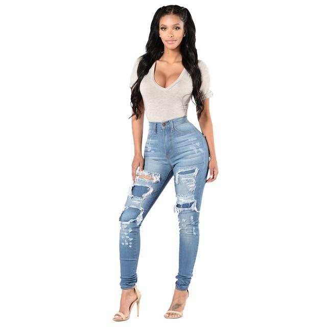 Sejian 2017 Zerstört Jeans Frauen Sexy Hosen Stretch Enge Jeans Loch