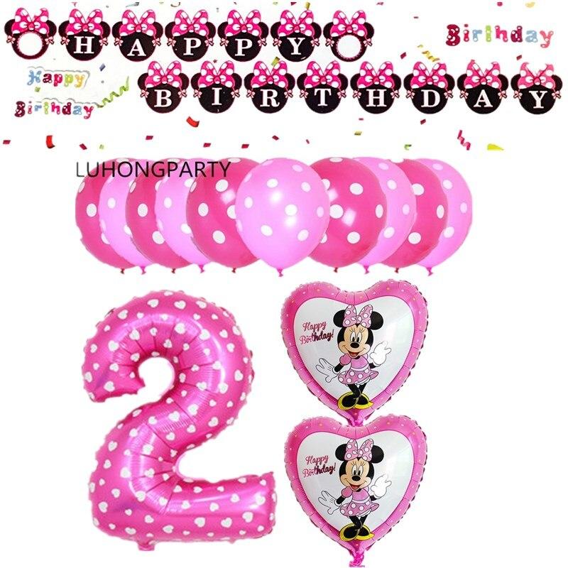 1 juego Unidades lindo mickey minnie Mouse papel de aluminio globos Decoraciones de fiesta de cumpleaños suministros helio globos rosa minnie globos LUHONG