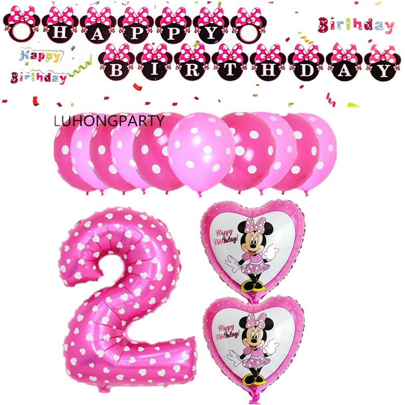 1 set sveglio di mickey minnie Mouse stagnola balloons birthday party decorazioni elio baloes minnie rosa ballons globos LUHONG