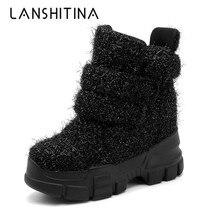 Женские зимние ботильоны; кроссовки на танкетке; женские ботинки; обувь с высоким берцем, увеличивающая рост 10 см; сезон осень; botas Feminina