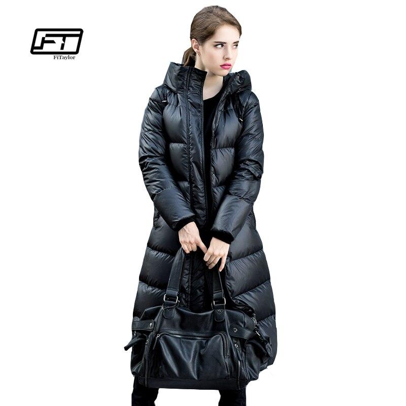 Fitaylor зимние куртки Для женщин 90% Белые парки с гусиным пухом пуховик Для женщин пальто с капюшоном Длинные теплые Повседневное Зимние Верхн...