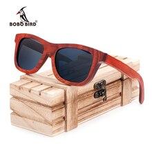 Бобо птица Для мужчин бренд Солнцезащитные очки Мода красного дерева Солнцезащитные очки поляризованные летние очки из дерева ручной работы Солнцезащитные очки для друзей 2017