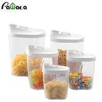 5 pz Scatola di Conservazione Degli Alimenti Contenitore Trasparente Set con Versare Coperchi Da Cucina Cibo Sigillato Spuntini di Frutta Secca Grani Serbatoio di Stoccaggio scatola di cereali