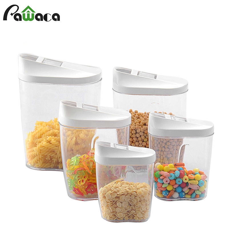 5Pcs Food Storage Box Clear Container Set with Pour Lids Kitchen Food Sealed Snacks Dried Fruit Grains Tank Storage Cereal Box5Pcs Food Storage Box Clear Container Set with Pour Lids Kitchen Food Sealed Snacks Dried Fruit Grains Tank Storage Cereal Box