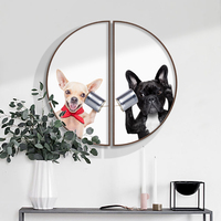 Modern minimalist porch decorative painting Cat and dog Creative semicircular painting Restaurant pet shop mural with frame