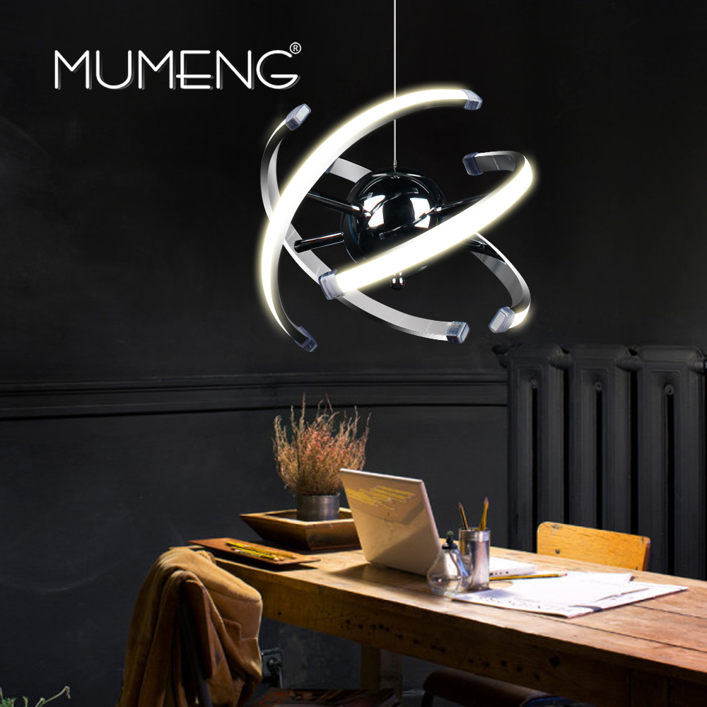 LED Ball Pandant Light Modern Ring Ceiling Lamp Fixture Chrome Chandelier Lighting Dining Room Hanging Lamps Luxture MUMENG