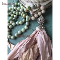 Shabby BoHo Necklace Pink Sari Silk Tassel Knoting Green Jaspers Beads Necklace NM15500