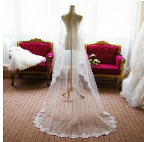 Long Lace Wedding Veil Veu De Noiva Longo Luxury 1 Layer Weddin Accessories Tulle Veil For Bride 2015 Cheap (1)