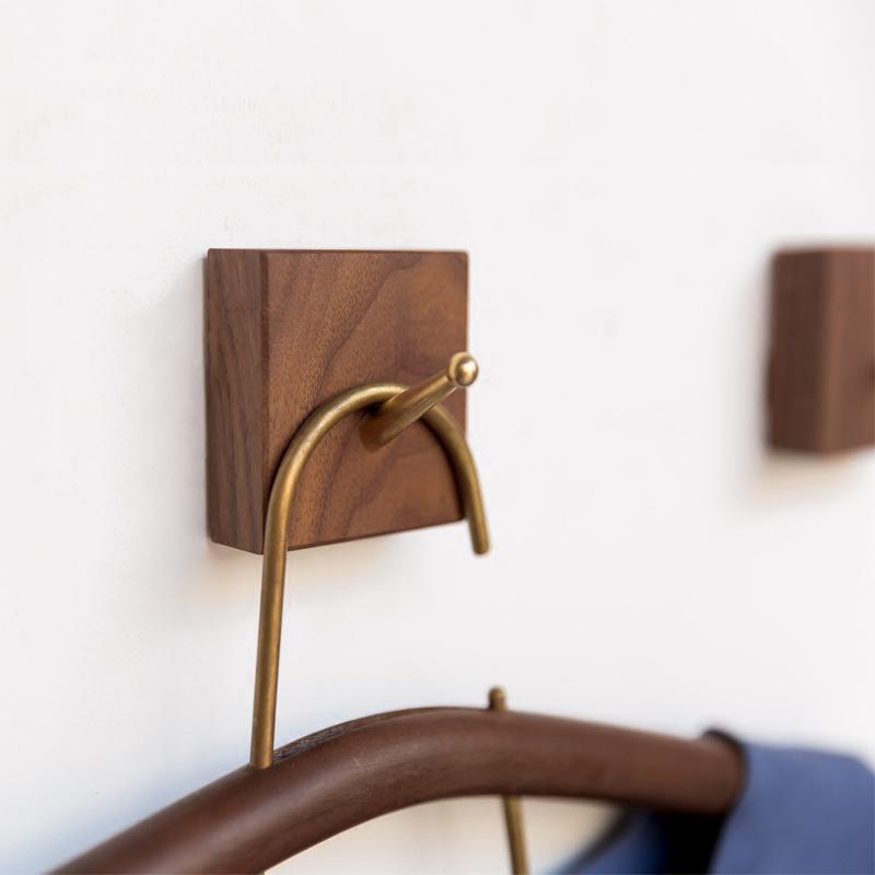 Creative wood coat hooks decorative wall hook minimalist modern bedroom hallway wall mount ...