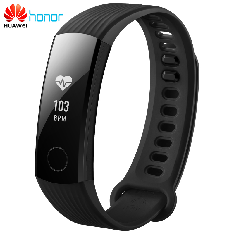 Original Huawei Honor Band 3 Smart Wristband Bracelet Swimmable 5ATM 0.91 OLED Screen Touchpad Heart Rate Monitor Push Message huawei honor a2 smart wristband 0 96 oled screen heart rate monitor show message end call ip67 glory play bracelet a2