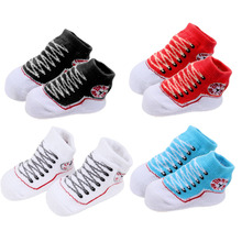 1 Pair Cute Baby Newborn Children Solid Socks Cute Children Clothing Socks Rubber Sole Striped Spring Autumn