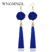 WNGMNGL Vintage Ethnic Boho Long Tassel Earrings Women 2018 Fashion Brand Jewelry Fabric Flower Ball Simple Dangle Drop Earrings цена