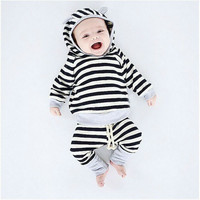 Children's Clothes Boys and Girls Long Sleeves Baby Girl Boy Striped Hoodie Suit Europe and America Toddler Unisex Fashion Sets