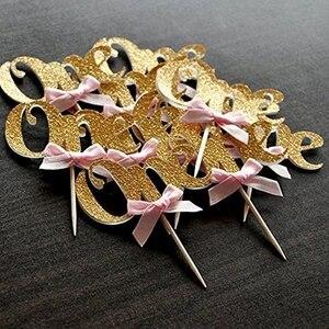 Image 2 - 1st ハッピーバースデー紙ケーキカップケーキトッパー私の最初のパーティー装飾キッズベビー少年少女私は 1 1 年用品ピンクブルー