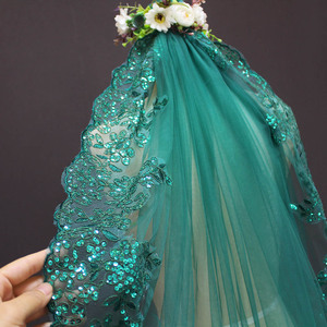 Image 5 - New 0.9 Meters One Layer Lace Edge Green Tulle Wedding Veil With Comb