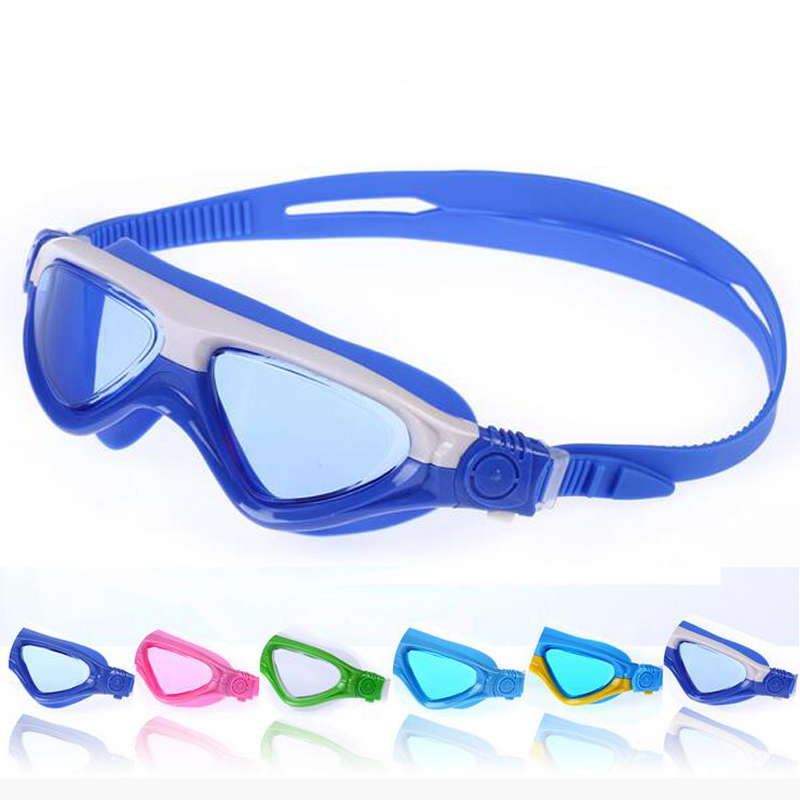 Kids Child Patchwork Swimming Goggles Swim Pool Waterproof Glasses Anti Fog Water Eyewear Swimwear w/ Hard Case & Earplugs