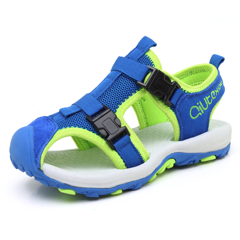 ULKNN Children Shoes Boys Sandals Genuine Leather Summer Beach Kids Sandals Breathable Cut-outs Sport School Shoes For Boys