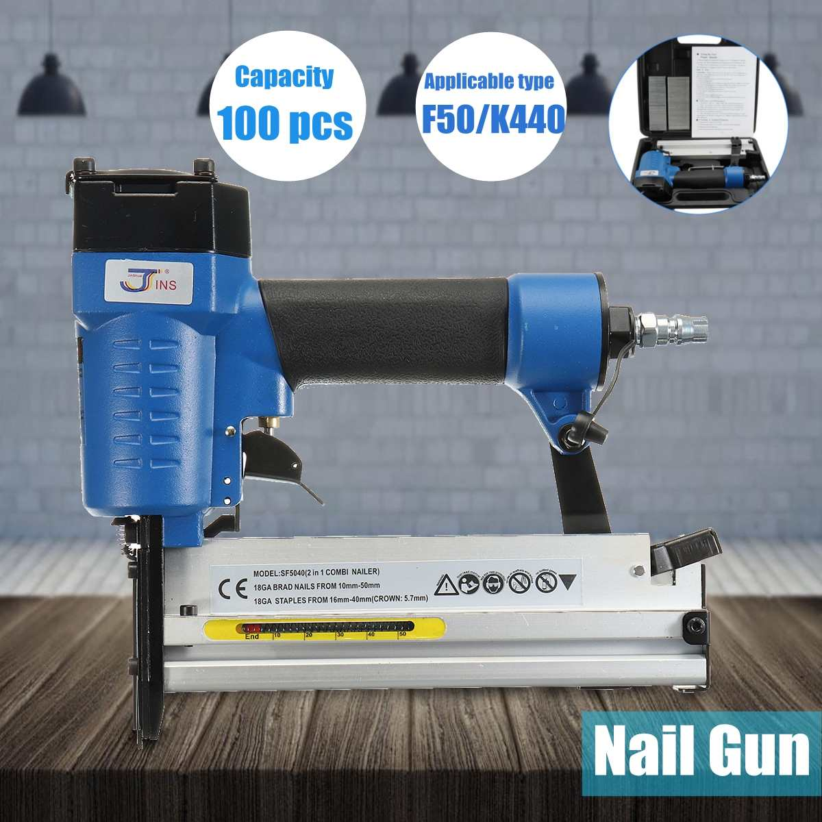 Portable 2 in 1 F50/K440 Electric Staple Air Nailer G un Straight Finishing Nail G un Woodworking ToolPortable 2 in 1 F50/K440 Electric Staple Air Nailer G un Straight Finishing Nail G un Woodworking Tool