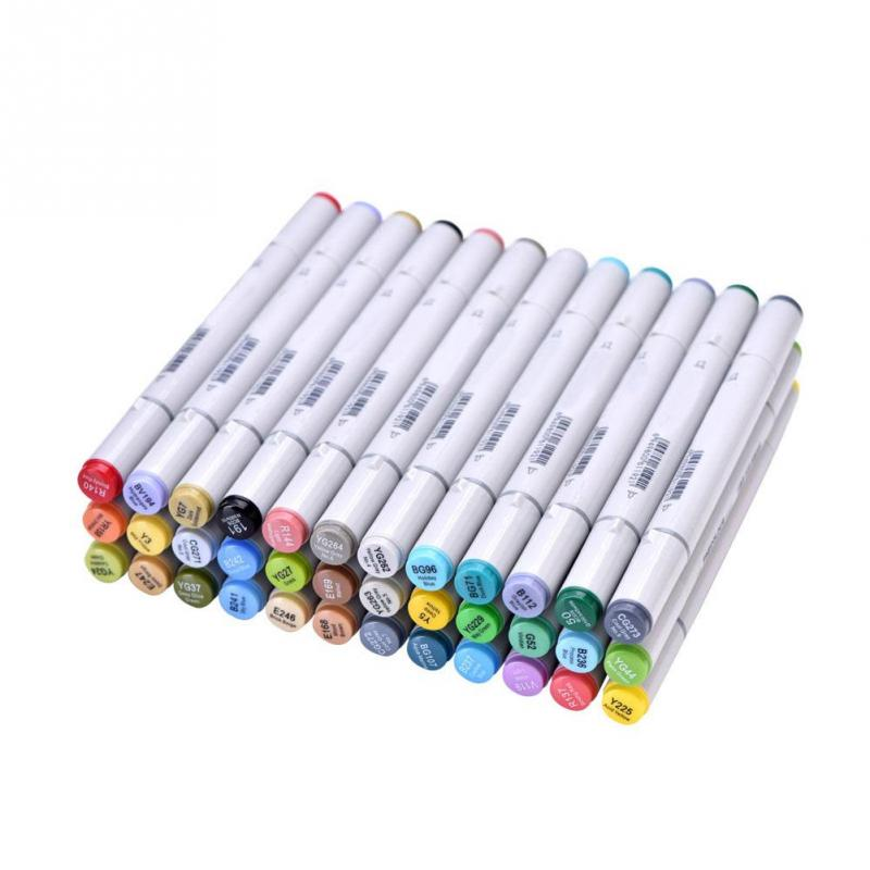 36 Colors Art Marker Double Headed Sketch Marker Pen Paint Marker Set Draw Manga Comic For Design Supplies with Pencil Bag 36 48 60 72 marker colors set double headed marker pen paint art sketch darwing copic marker pens in high quality