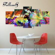 FULLCANG 5pcs diy diamond painting color butterfly full drill cross stitch mosaic 3d embroidery multi-picture hobby G1161