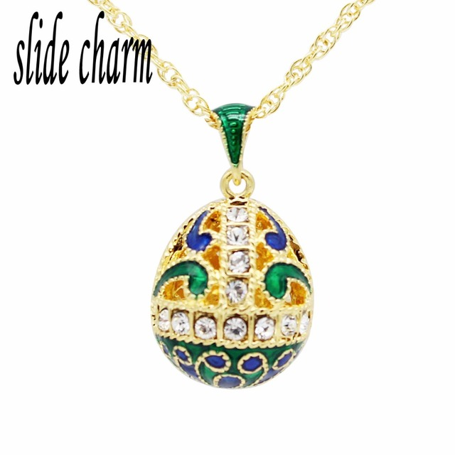US $19 99 |slide charm Free shipping White Crystal Green Wave Chart Russian  Golden Egg Pendant Necklace-in Pendant Necklaces from Jewelry &