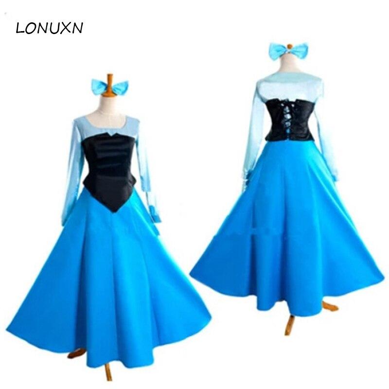 Nouveau Fantasia Halloween femmes adulte princesse Ariel robe la petite sirène Ariel cosplay Costume bleu robe livraison gratuite