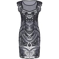 Glitter Mesh Backless Flapper Party Dress Mini Black Sequin Dress Robe 2017 Woman V Neck 1920s