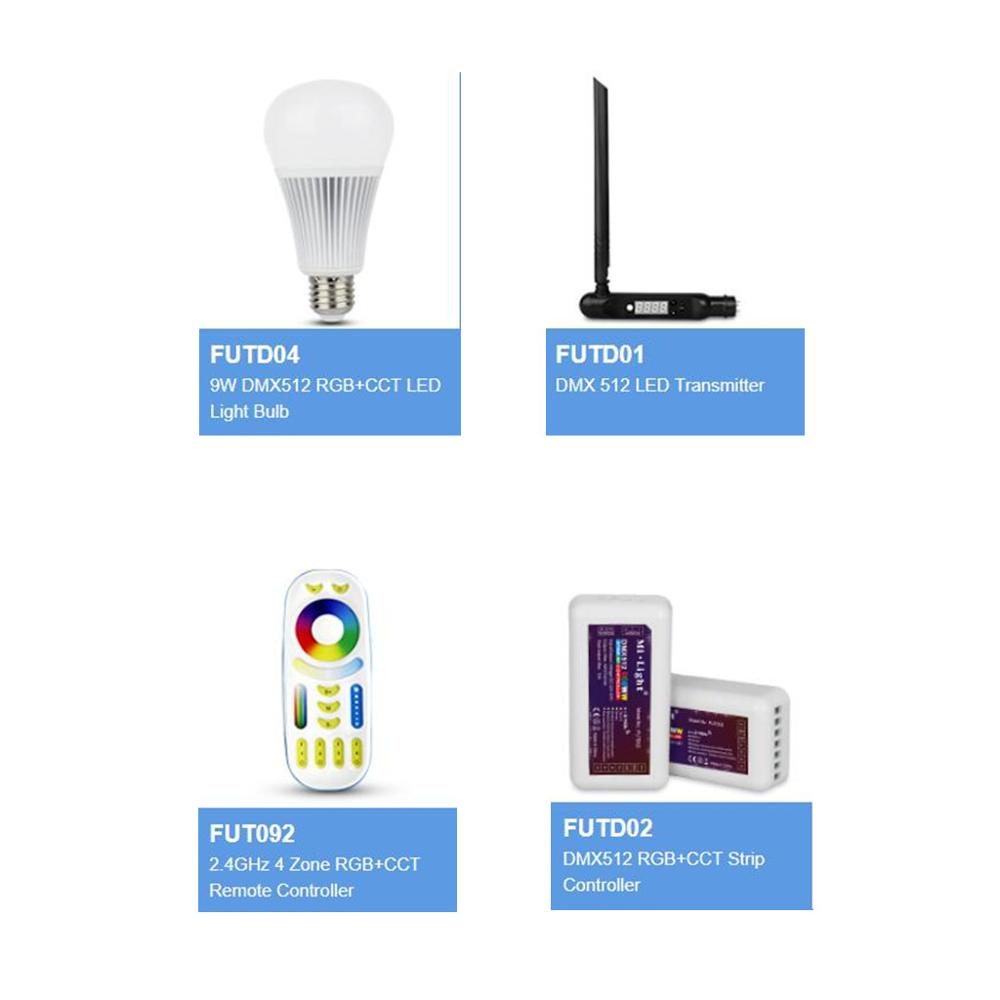 DC12V-24V Mi Light FUTD01 DMX 512 LED Transmitter FUTD02 DMX512 RGB+CCT Strip Controller FUTD04 9W DMX512 RGB+CCT LED Light Bulb