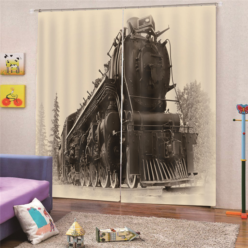 US $25 54 32% OFF|3D Digital Print Steam Train Modern Blackout Curtains for  Living room Bedroom Window Fabric For Kitchen Home Decor Draps AP24-in