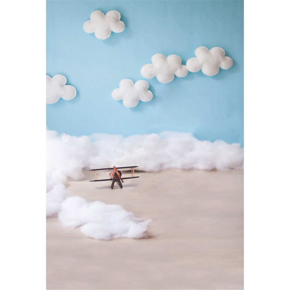 Blue Sky White Clouds Baby Pilot Photography Backdrops Vinyl Printed Toy Aircraft Kids Boy Photo Shoot Backgrounds for Studio newborn photography background blue sky white clouds photo backdrop vinyl balloons scattered petals backgrounds for photo studio
