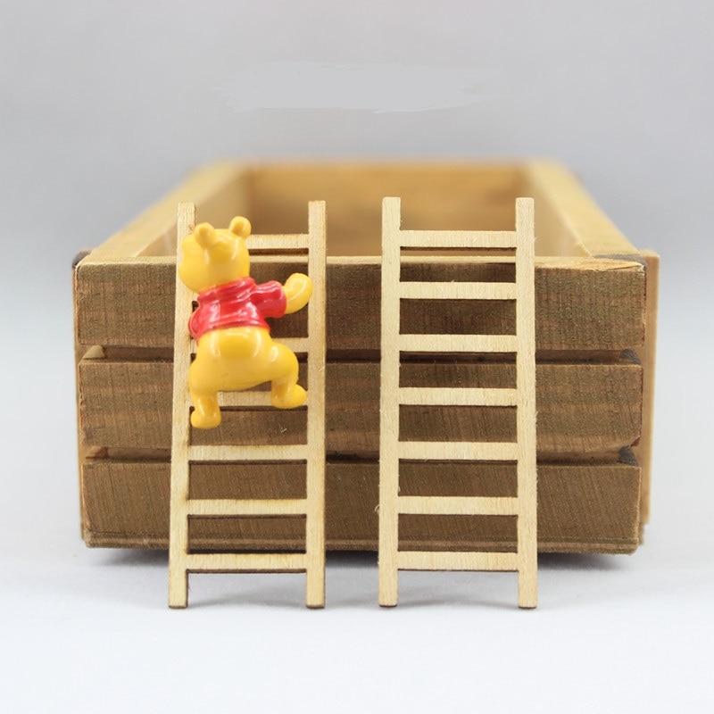5pcs/set Mini Wooden Step Ladder DIY Furniture Tools Fairy Garden Dollhouse Miniatures Fairy Garden Ornament Decoration