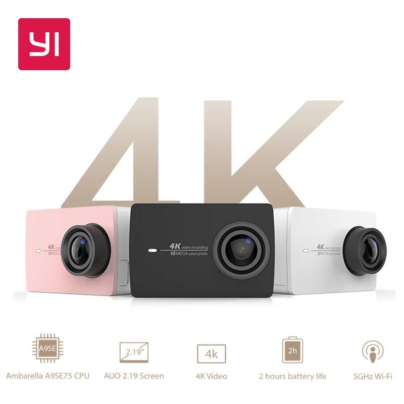 YI 4K Action Camera Bundle 2.19 LCD Tough Screen 155 Degree EIS Wifi Black International Edition Ambarella A9SE75 12MP CMOS