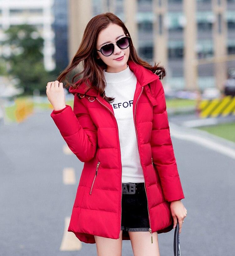 2018 nieuwe hot koop plus size parka met hoed zwart marineblauw grijs rood jassen winter jassen voor vrouwen - 5