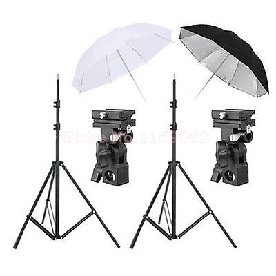 4 in 1 Flash Mount Bracket / Kit Light Stand Flash Bracket B Mount 33Umbrella Black Reflective Umbrella+white studio Umbrella