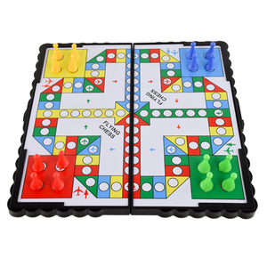 Mini Magnetic Foldable Flying Chess Crawling Mat Ludo Portable Board Game Camping Travel Game Set Fast Dispatch 21*21*2cm(China)