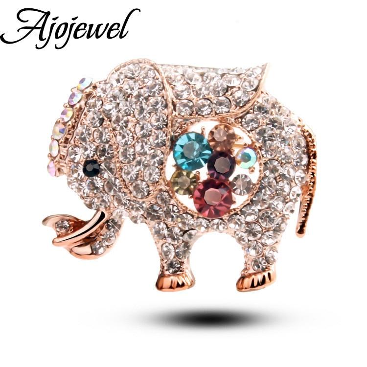 7e32db12c Ajojewel الكامل الراين الكريستال الفيل بروش النساء مجوهرات بأشكال حيوانات  للفتيات الأخوات الأم