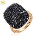HUTANG Natural Black Шпинель Кольцо Твердые Стерлингового Серебра 925 Кластера Кольца Изящных Ювелирных Изделий Женщины Подарок