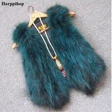 リアルラクーンの毛皮のベスト女性のキツネの毛皮のベストショートデザインカジュアル毛皮のコートグラデーションカラーの毛皮生き抜く送料無料