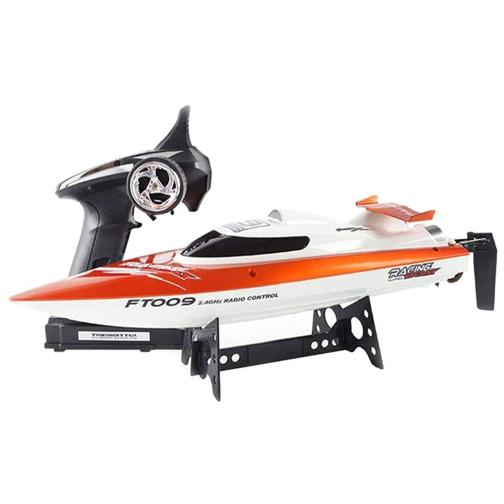 Feilun EU Plug FT009 2.4GHz 4 canaux refroidissement par eau haute vitesse course RC bateau cadeau (orange)