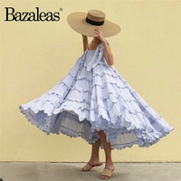 Bazaleas Vintage Backless summer Dress Lace Patchwork women Dress Fashion Beach Big Pleated vestidos drop shipping