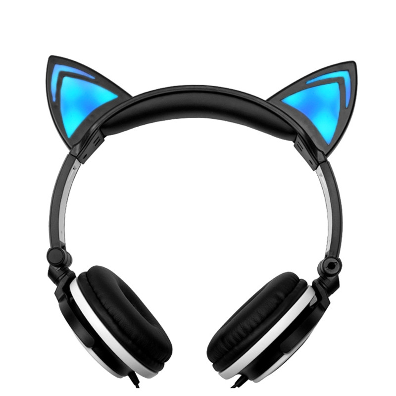 Cute Cat Wired Girl Foldable Headphone Stereo Headset Headband Earphone with LED  Headphone for Phone PC MP3 for Christmas Gifts