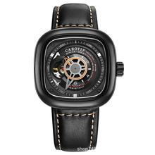 יוקרה גברים של שעון עור עמיד למים פין אבזם חלול כיכר נירוסטה סגסוגת זוהר מכונות אופנה גברים של שעון