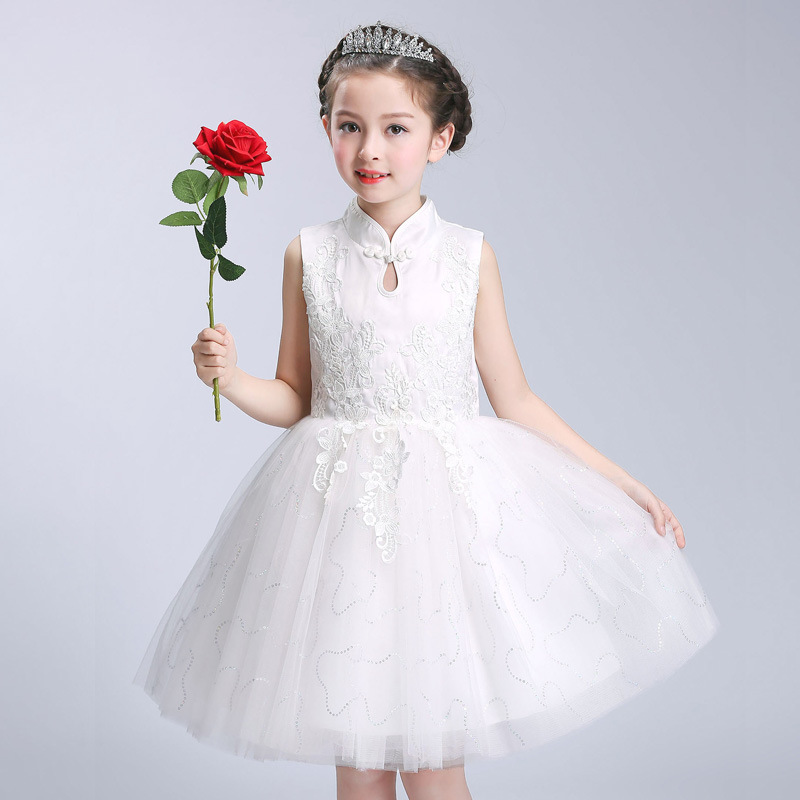 Summer Kids Girls Wedding Lace Dress European Style Party Birthday Floral Princess Lace Prom Formal Dress Crew Neck 12 Years