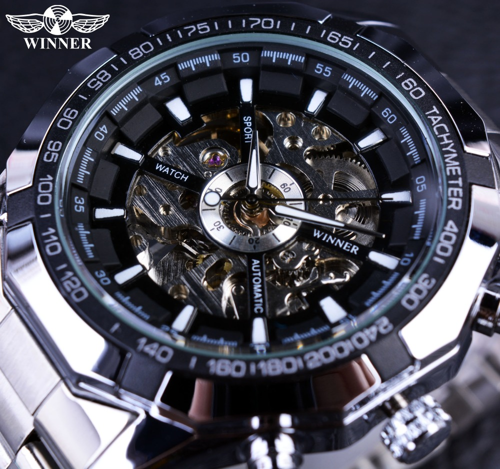 Winner Sport Skeleton Stainless Steel Designer Men Watch Top Brand Luxury Automatic Casual Mechanical Watch Clock Men Wristwatch mce gold skeleton stainless steel designer mens watches top brand luxury automatic casual mechanical watch clock men wristwatch