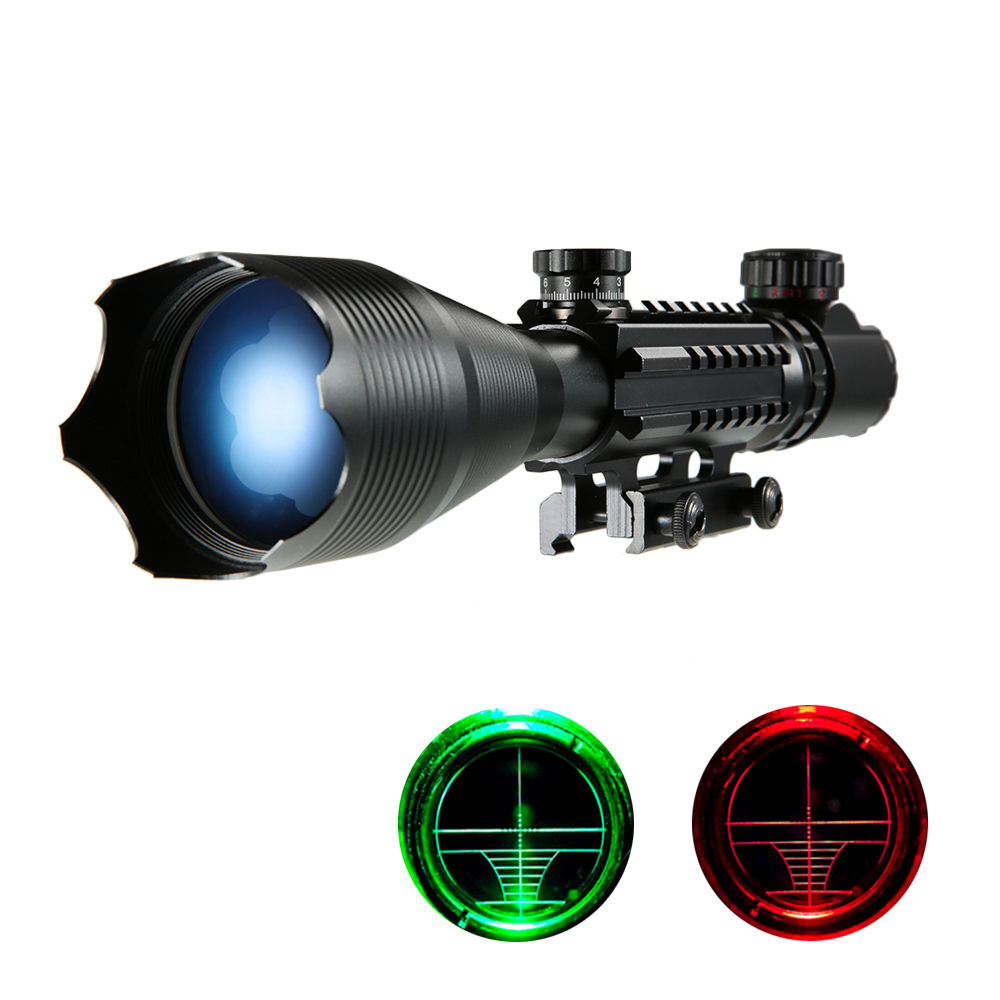 4 16x50 Hunting Riflescope Red Green illuminated Reticle with 22mm Rail Mounts scope mount Hunting Equipment