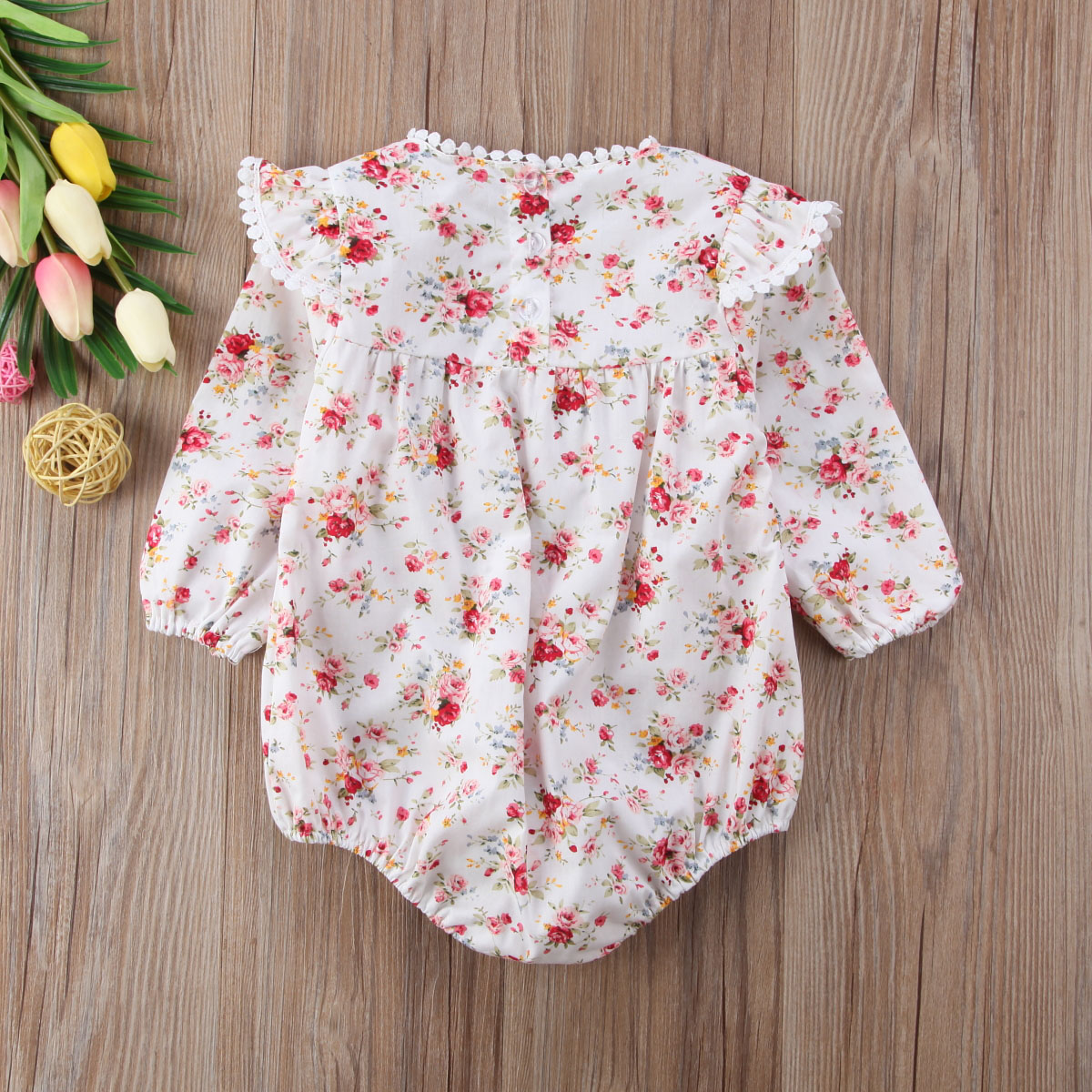 6M-4Years Princess Kids Baby Girls Floral Long Sleeve Romper sweet ruffle cotton Jumpsuit Outfits baby girl clothing 2017